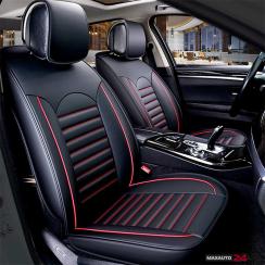 Комплект кожени универсални калъфи за седалки 2бр/к-т - Черно с червено